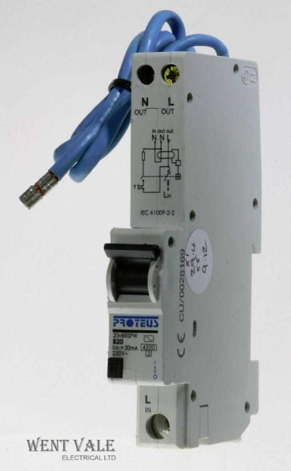 Proteus - 20MBRSPW - 20a 30mA Type B Single Pole RCBO Used